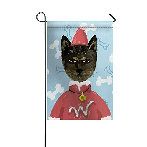zhurunshangmaoGYS Garden Flag House Banner Decorative Flag Home Outdoor Valentine, Watercolor Cat wear Christmas Costum Pattern Welcome Holiday Yard Flag 12 x 18inch]()
