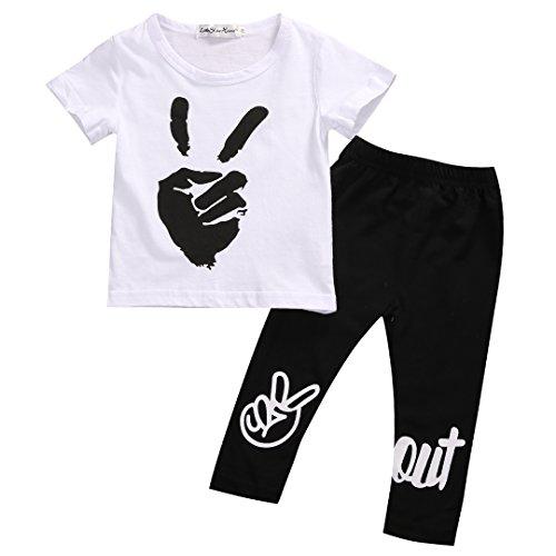 2PCS Newborn Baby Boy Girl Yeah Gesture Pattern T-shirt+ Pants Leggings Outfits (0-6 M, White)