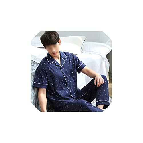 Pajamas Cardigan Men Pajamas Set Summer Cotton Short Sleeve Trousers Set Summer Home Men Sleepwear,White,L