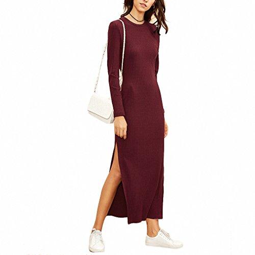 NEW Women European Style Fall Dresses Burgundy Long Sleeve High Slit Ribbed Dress Red L