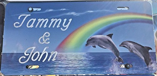 Mirror Mania Dolphins Rainbow Personalized Custom License Vanity Plate Free Engraved Auto Car Tag Swimming Couple Dolphins License Plate Designed Specially Made, Car Wash Safe, Indoors or Outdoors, ()