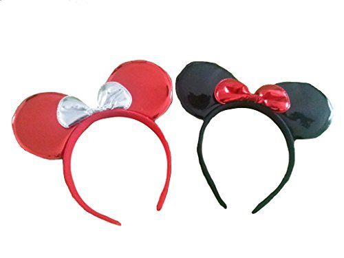2 Pack Mickey/Minnie Mouse Style Ears Headband for Boys, Girls, Children, Adults, Parties, Disneyland, Music Festivals, Headwear, Halloween (Vinyl - 1 Red / 1 Black) -