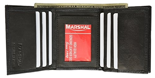 RFID Blocking Men's Leather Classic Trifold Wallet (Black)