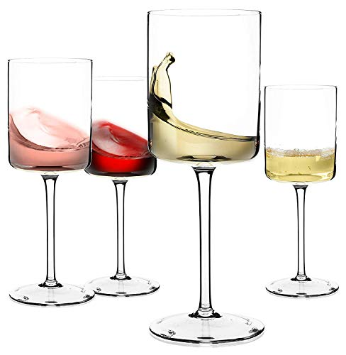 Red Wine or White Wine Glass Set of 4 - Unique Gift for Women, Men, Wedding, Anniversary, Christmas, Birthday - 14oz, 100% Lead Free Crystal ()