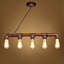 Lightess Pendant Light Industrial Vintage Hanging Ceiling Lighting Fixture Rustic Steampunk Metal Edison Pendant Lamp with 5 Heads Copper Finish