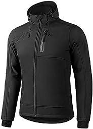 KUTOOK Men Softshell Jacket Hooded Windbreaker Coat Thermal Fleece Lined Windproof Water Resistant Outdoor
