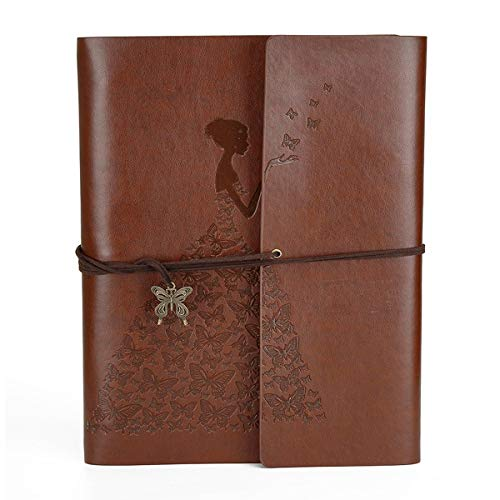 Scrapbook Leather DIY Photo Album Memory Book 60 Pages for Baby Anniversary Birthday Wedding Travel Graduation Picture (Large, Brown Girl) -