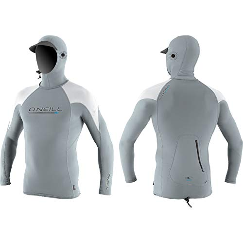 O'Neill  Men's Premium Skins O'zone UPF 50+ Long Sleeve Sun Shirt With Hood, Cool Grey/White,Medium -