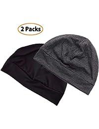 Unisex Skull Cap 2-Pack Multifunctional Headwear Helmet Liner Cotton Beanie Hat Chemo Cap Night Sleep Cap for Men/Women