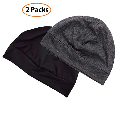 Unisex Skull Cap 2-Pack Multifunctional Headwear Helmet Liner Cotton Beanie Hat Chemo Cap Night Sleep Cap for Men/Women (Black & Gray)