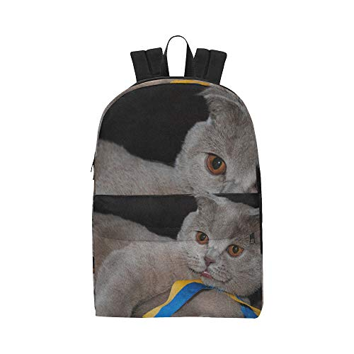 Lazy Happy Cat With Ribbon Classic Cute Waterproof Laptop Daypack Bags School College Campus Backpacks Rucksacks Bookbag For Kids Women And Men Travel With Zipper And Inner Pocket