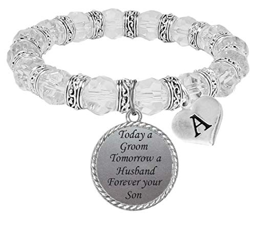Jeweled Initial Bracelet - Custom Today Groom Tomorrow Husband Forever Your Son Glass Bracelet Bridal Party Choose Initial Choose Color (Clear)