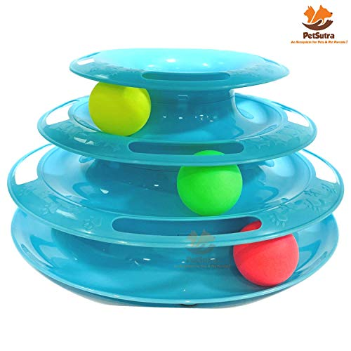 PetSutra Cat Toy Play Station Tracks Spinning Balls (3 Level)