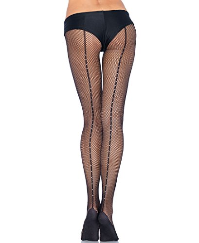 Leg Avenue PD803 Women's Professional Rhinestone Backseam Fishnet Pantyhose Tights - Black - - Leg Rhinestone Avenue