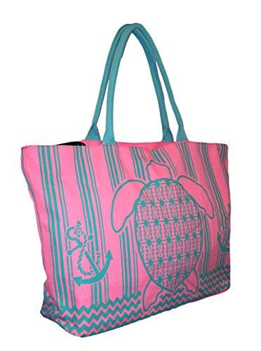 Price comparison product image Beach Print Pastels X-Large Zipper Top Tote Bag (Pink / Aqua Turtle)
