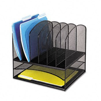 Safco® OnyxTM Mesh Desk Organizer With Two Horizontal/Six U