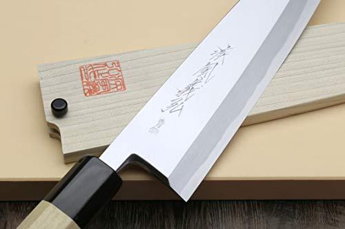 Yoshihiro Hongasumi Blue Steel Mioroshi Filet Sushi Sashimi Japanese Knife Magnolia Handle (8.25''/210mm) by Yoshihiro (Image #3)