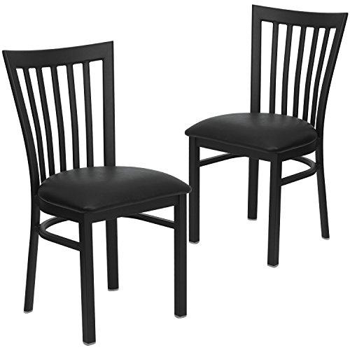 Flash Furniture 2 Pk. HERCULES Series Black School House Back Metal Restaurant Chair - Black Vinyl Seat