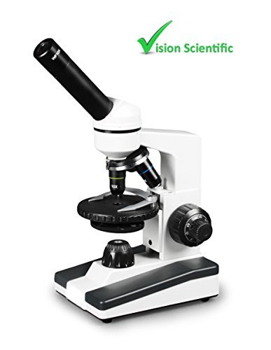 Vision Scientific VME0019-RC Monocular Elementary Level Compound Microscope, 10x WF & 25x WF Eyepiece, 40x-1000x Magnification, Brightfield LED Illumination, Gliding Round Stage, Rechargeable Battery