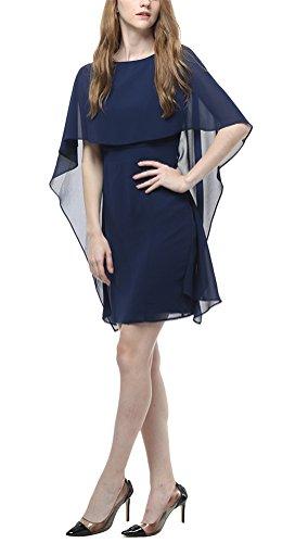 ... MILEEO Damen Chiffon Kleid Knielang mit Fledermausärmel Cocktailkleid  Elegant Einfarbig,Schwarz Gr.36- ... 9a76e7bd62