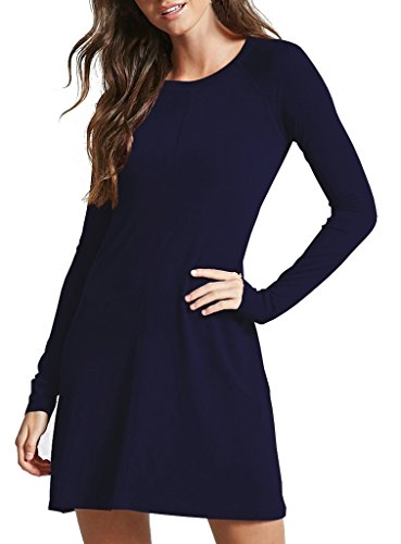 Sarin Mathews Womens Long Sleeve Midi Flared Dress Round Neck Casual Dresses DarkBlue M