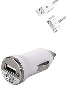 Lapinette CAC-BLANC+DATA-4S - Cargador de coche con cable USB para Apple iPhone 4/4s, color blanco