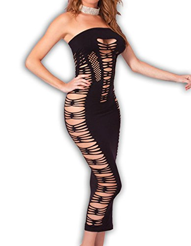 xy Spender Seamless Tube Lingerie Club Dress Black Fits 1X 2X 3X (Cut Out Tube Dress)