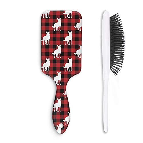 Unisex Detangle Hair Brush German shepherd dog silhouette in Buffalo Plaid Boar Bristle Paddle Hairbrush for Wet, Dry, Thick, Thin,Curly hair