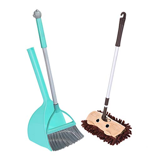 - Nmch 3pcs Set Small Mop,Small Broom,Small Dustpan Mini Children Pretend Toys Housekeeping Cleaning Tools Set for Kids (Blue)