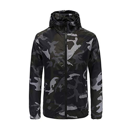 Xchenda Mens Camouflage Print Suntan-Proof Sweatshirt Pullover Hooded Zipper Long Sleeve Tops Blouse (2XL, Black) by Xchenda