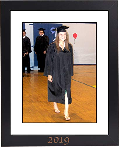 - CreativePF [11x14bk] 2019 Black Graduation Frame with 11x14-inch White Mat Holds 8.5x11-inch Photo Media, with Stand and Installed Hangers