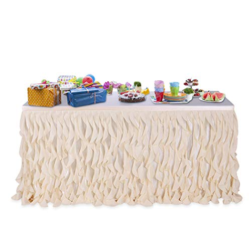 Leegleri 14ft Soft Peach Curly Willow Table Skirt Tulle Table Skirt for Rectangle Table or Round Table,Tutu Table Skirt for Baby Shower,Wedding,Birthday Party Decoration (L 14(ft) H 30in)