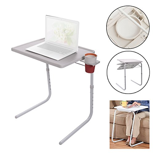 Furnish 5Star Folding Table Height Adjustable Bedside Supplement Desk Tray with Drinking cup/Bottle Storage Slot widely used for Classroom, Hospital, Home, Office and so on. TBLS41