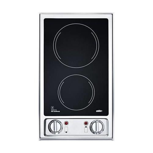 "Summit FBA_CR2B120 115V 2-Burner 12"" Radiant Cooktop with Stainless Steel Trim for Built-in Installation, Black"