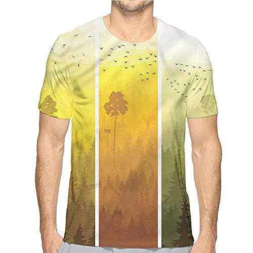 t Shirt Forest,Hills Trees and Birds Printed t Shirt XXL]()