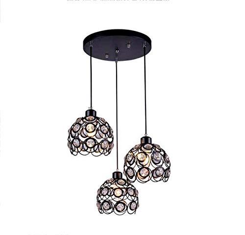Mamrar 3 Head Crystal Pendant Lamp Ceiling Lamps Balcony Restaurant Foyer Chandelier Hollow Iron Petal Shape Deco Hanging Line Lighting,Black,Round