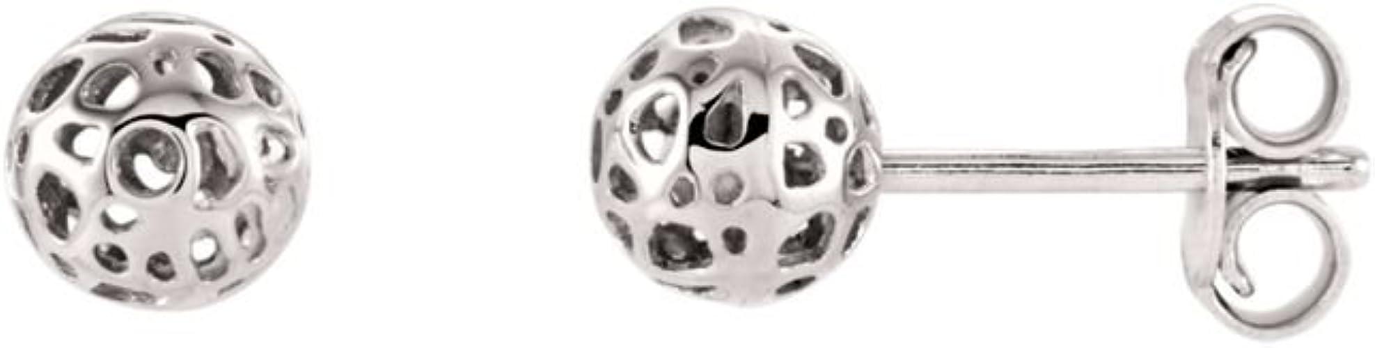 14K White-Ball Earrings