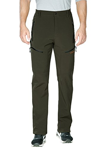 Nonwe Men's Snow Hiking Pants Windproof Fleece Lined Cargo G