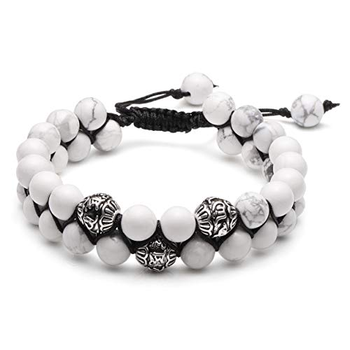 Top Plaza Men Women White Turquoise Bracelets Aromatherapy Essential Oil Diffuser Bracelet Braided Rope Natural Stone Beads Yoga Anxiety Bracelet