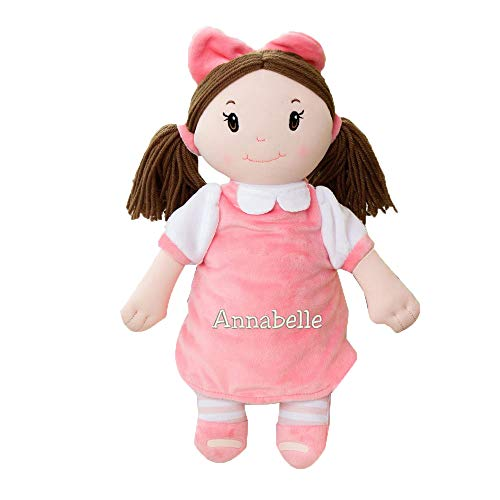 GiftsForYouNow Plush Embroidered Little Darlings Personalized Baby Doll, Brunette -