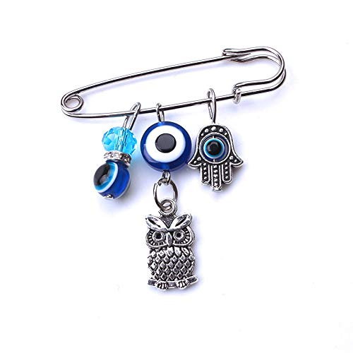 MyEvilEye Blue and Silver Color Evil Eye Hamsa Stroller Pin with Owl for Baby Good Luck