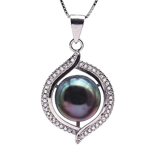JYX Sterling Silver 10mm Tahitian Cultured Pearl Pendant Necklace Silver Tahitian Cultured Pearl