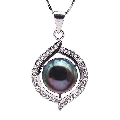 JYX Sterling Silver 10mm Tahitian Cultured Pearl Pendant Necklace Silver Tahitian Cultured Pearl