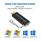 USB 3.0 to HDMI Adapter, USB to HDMI Adapter with keychain,HD 1080P Video Graphics Portable Adapter Converter HDTV TV Audio Video Adapter Compatible for Windows 7/8/10 PC(Not Support Mac OSX & VISTA)