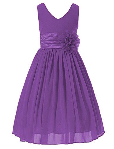 Cdress Flower V-Neck Chiffon Flower Girl's Dresses Tea Length Juinor Wedding Party Gwons US 6