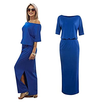 Napoo Clearance Women Cold Shoulder Solid Split Long Maxi Evening Party Dress With Pocket
