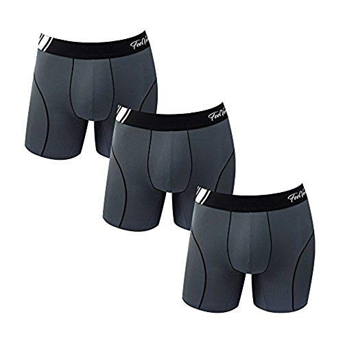 (Feelvery Men's Superior Fit Microfiber Active Performance Boxer Briefs Underwear (5 Pack) - Unlimited Comfort Series (C_Line Air Ventilation Midway (GY3P), 2X-Large))