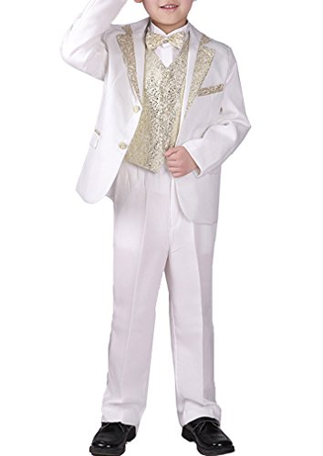 YUFAN Boys Black/White 5 Pieces Formal Tuxedo Suits Jacket Vest Pants Shirt Bow Tie (White-Gold, 8)
