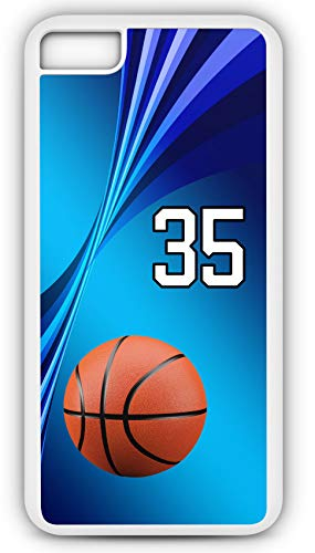 iPhone 8 Case Basketball Pick and Roll Customizable by TYD Designs in White Plastic with Team Number 35