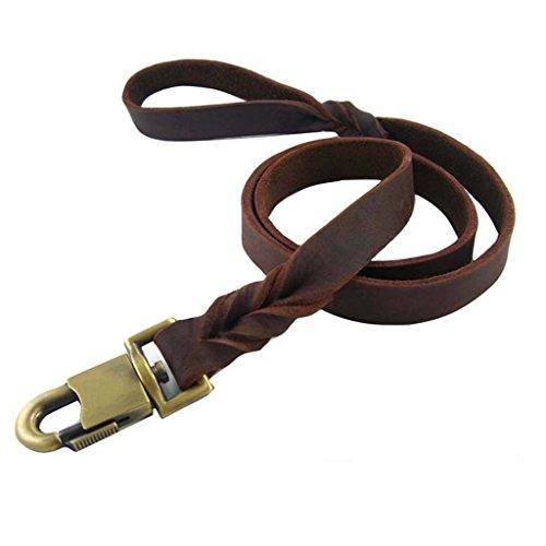 Venxic Genuine Leather Dog Traning Leash Belt - Heavy Dute Running Walking Rope Lead Handles (4 Foot x 1 Inch, Braided Brown) from Venxic